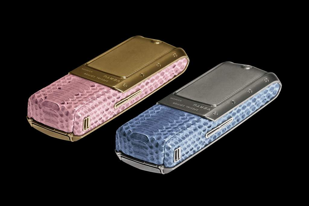 Vertu Ascent Python Gold Platinum Exotic Leather - Pink and Blue Skin