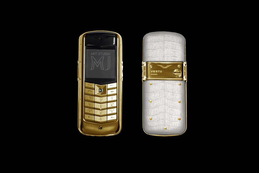 VERTU CONSTELLATION GOLD EXOTIC LEATHER CROCODILE LIMITED EDITION by MJ  Crocodile Cayman White Skin, Gold Phone and Rivets, Blue Diamond.