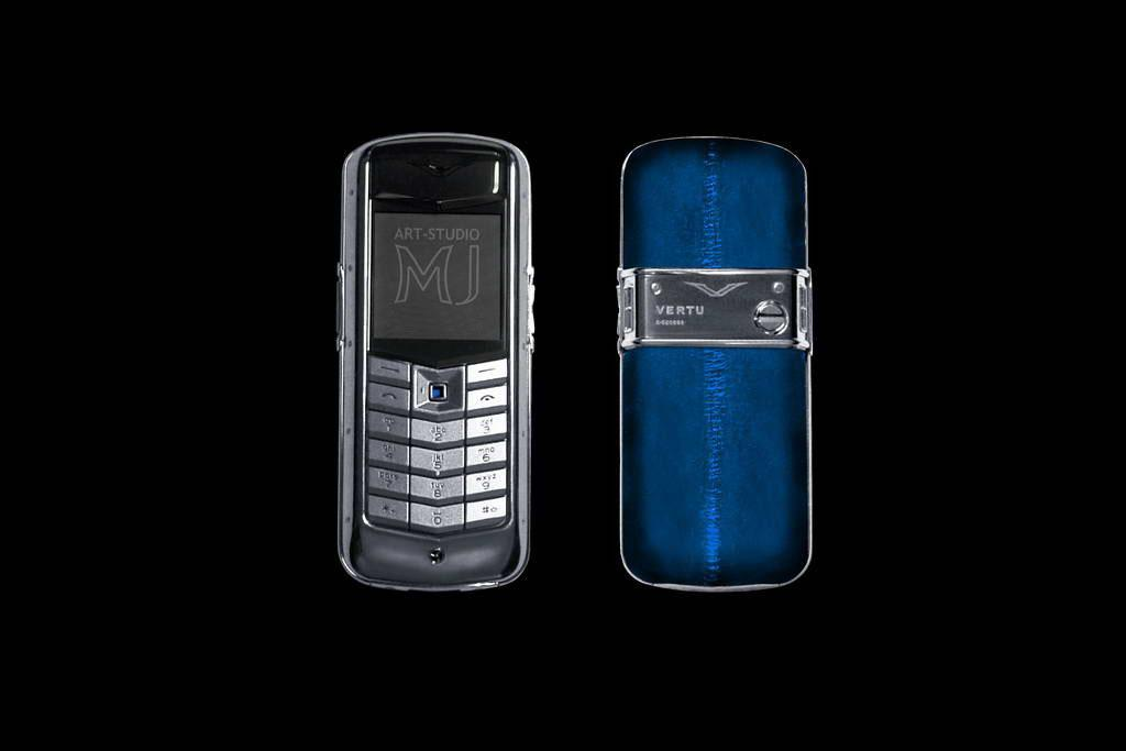 VERTU CONSTELLATION EXOTIC LEATHER SEA EEL LIMITED EDITION by MJ Mobile Phone from Titan & Steel. Genuine Leather Eel Sea Blue, Inlaid Sapphire