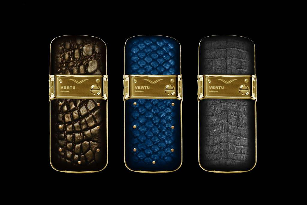 VERTU GOLD CONSTELLATION EXOTIC LEATHER LIMITED EDITION by MJ Mobile Phones from Pure Gold 999. Genuine Leather. Crocodile, Blue Anaconda & Gray Cayman Skin.