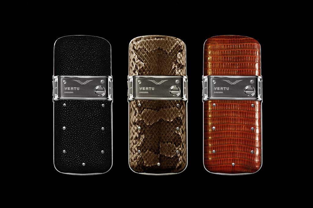 VERTU PLATINUM CONSTELLATION EXOTIC LEATHER LIMITED EDITION by MJ Platinum Mobile Phones. Genuine Leather. Stingray, Python & Iguana Skin